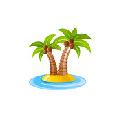 Vector illustration eps10 isolated on white background. Realistic vacation travel symbol exotic tropical design, 3d palm tree cocnut sunny island. Cartoon cute paradise Hawaii sea beach icon flat sign