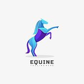 Vector Illustration Equine Gradient Colorful Style.
