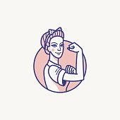 Vector illustration -  female power and woman rights