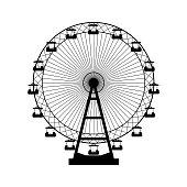 Vector illustration. Ferris wheel. Carnival. Funfair background
