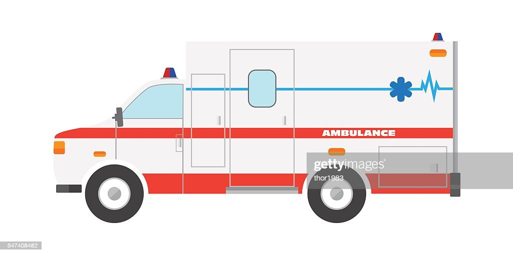 Vector illustration flat ambulance car emergency auto vehicle icon