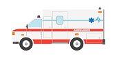Vector illustration flat ambulance car emergency auto vehicle icon