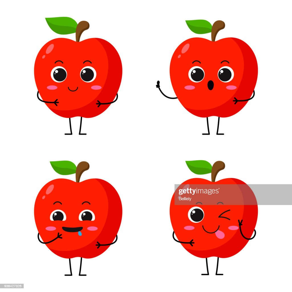 Vector Illustration Flat Apple Cute Character expression emotion collection set isolated on white background , minimal style , Raw materials fresh fruit , Mascot product