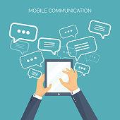 Vector illustration. Flat background. Social media, chatting. Global communication. Laptop