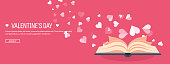 Vector illustration. Flat background with book. Love, hearts. Valentines day