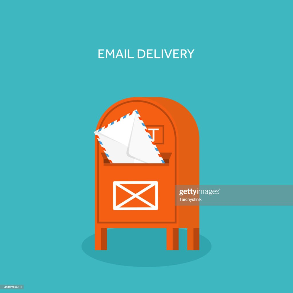 Vector illustration. Flat background with envelope. Emailing concept background. Spam