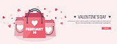Vector illustration. Flat background with shopping bags. Love, hearts. Valentines