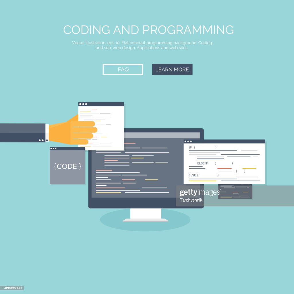 Vector illustration. Flat concept background, coding and programming. Search engine