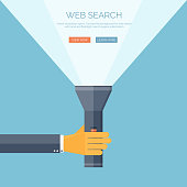 Vector illustration. Flat flashlight and hand. Web search concept bacground
