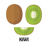 Vector Illustration Flat Kiwi isolated on white background , minimal style , Raw materials fresh fruit