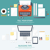 Vector illustration.  Flat typewriter.Laptop with hands. Tell your story