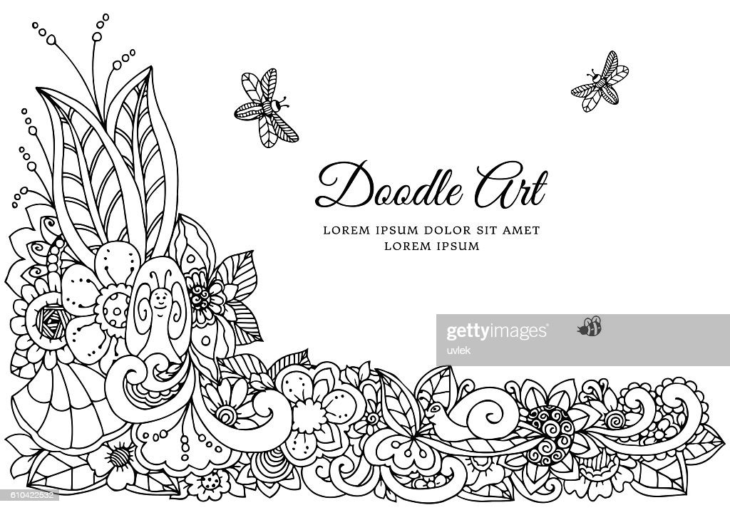 Vector Illustration Floral Frame Doodle Drawing Coloring Book Anti ...