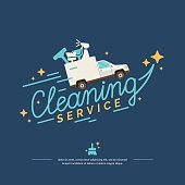 Vector illustration for a cleaning service with car
