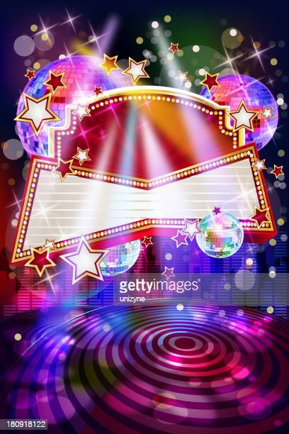 Vector illustration for a musical party with a blank banner