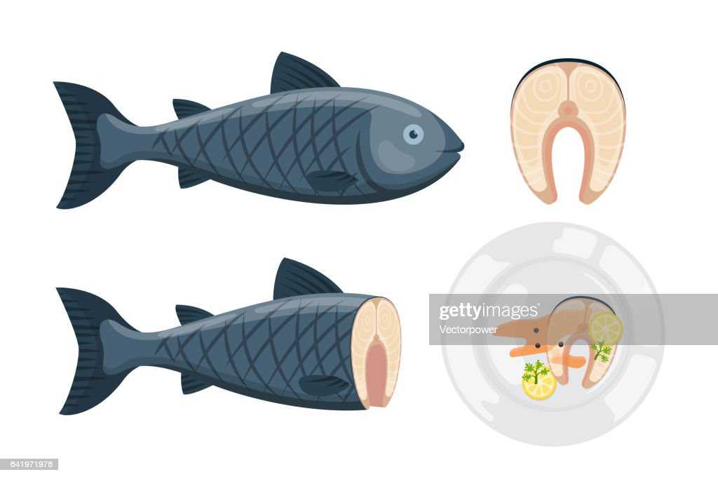 Vector illustration for artwork codfish plate