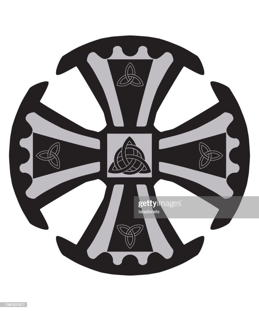 Vector Illustration for Christian community: The Canterbury Cross as one of the symbols of the Christian faith. Canterbury Cross with triquetras isolated.