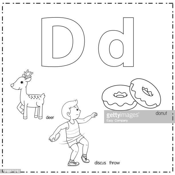vector illustration for learning the letter d in both lowercase and uppercase for children with 3 cartoon images. deer discus throw donut. - men's field event stock illustrations