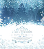Vector illustration for Merry Christmas and Happy New Year . Greeting card with snow and snowflakes against a background of snow-covered forest and spruce . Template for elegant design of postcard, flyer, congratulatory brochure