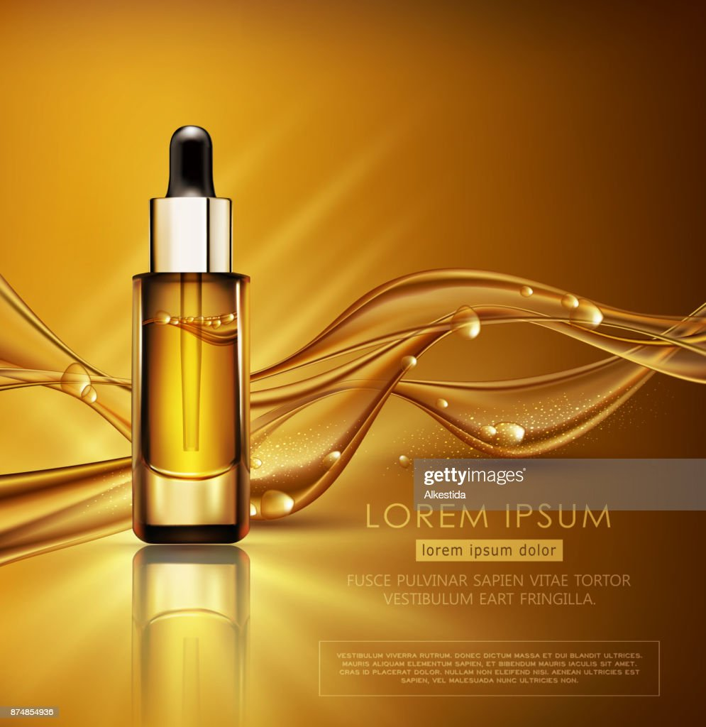 Vector illustration for new 2Vector glass vial with professional facial serum on  the background of waves and bubbles. Template cosmetic 018 year. Year of the dog according to the eastern calendar. A golden ball of spangles with a dog's paw in the middle.