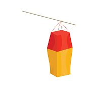 Vector illustration for Saint Martin's Day or Feast, also known as the Martinstag or Martinmas and Old Hallowmas: Martin Paper Lantern mockup or template isolated. Great also as Lantern icon.