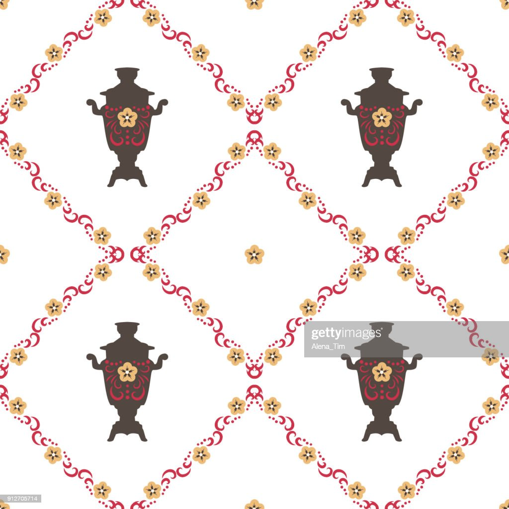 Vector Illustration for the Shrovetide feast. Seamless background. Samovars, national patterns.