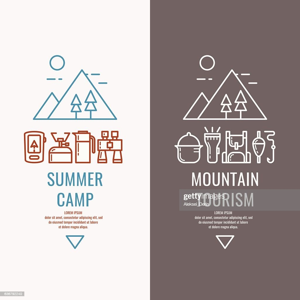 Vector illustration for web, a hike in the woods and
