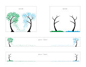 Vector illustration for web banners, format 300x250, 728x90. Trees of the dollars and the euro