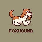 Vector Illustration Fox Hound Simple Mascot Style.