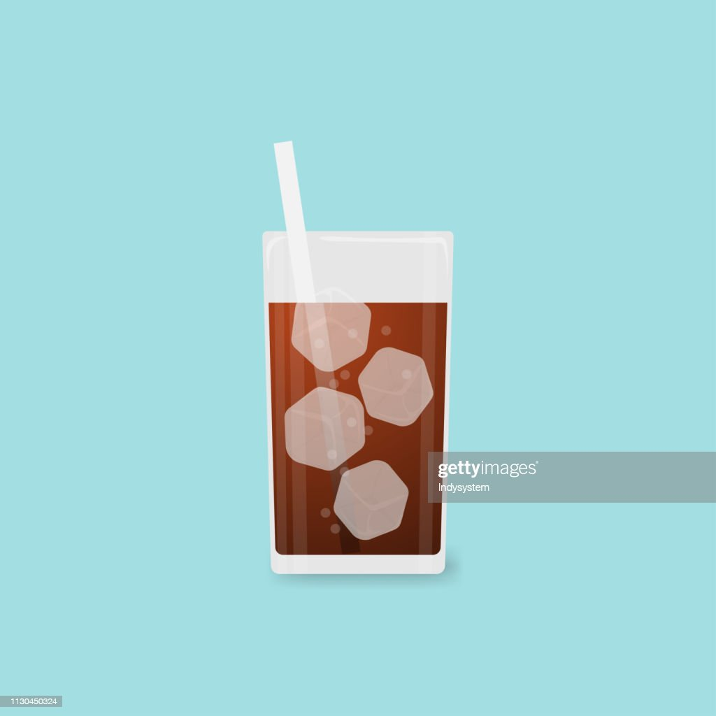 Vector illustration Fresh cool cola in glass on blue background.