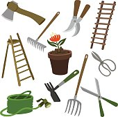 vector illustration garden supplies