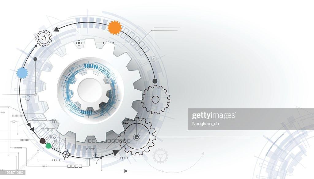 Vector illustration gear wheel and circuit board