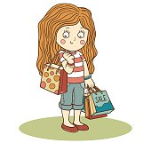 Vector illustration: girl and shopping bags
