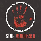 Vector illustration. Global problems of humanity. Stop bloodshed