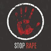 Vector illustration. Global problems of humanity. Stop rape sign