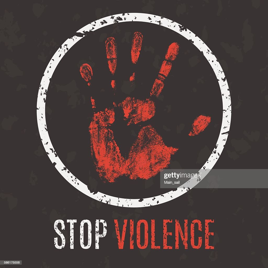 Vector illustration. Global problems of humanity. Stop violence