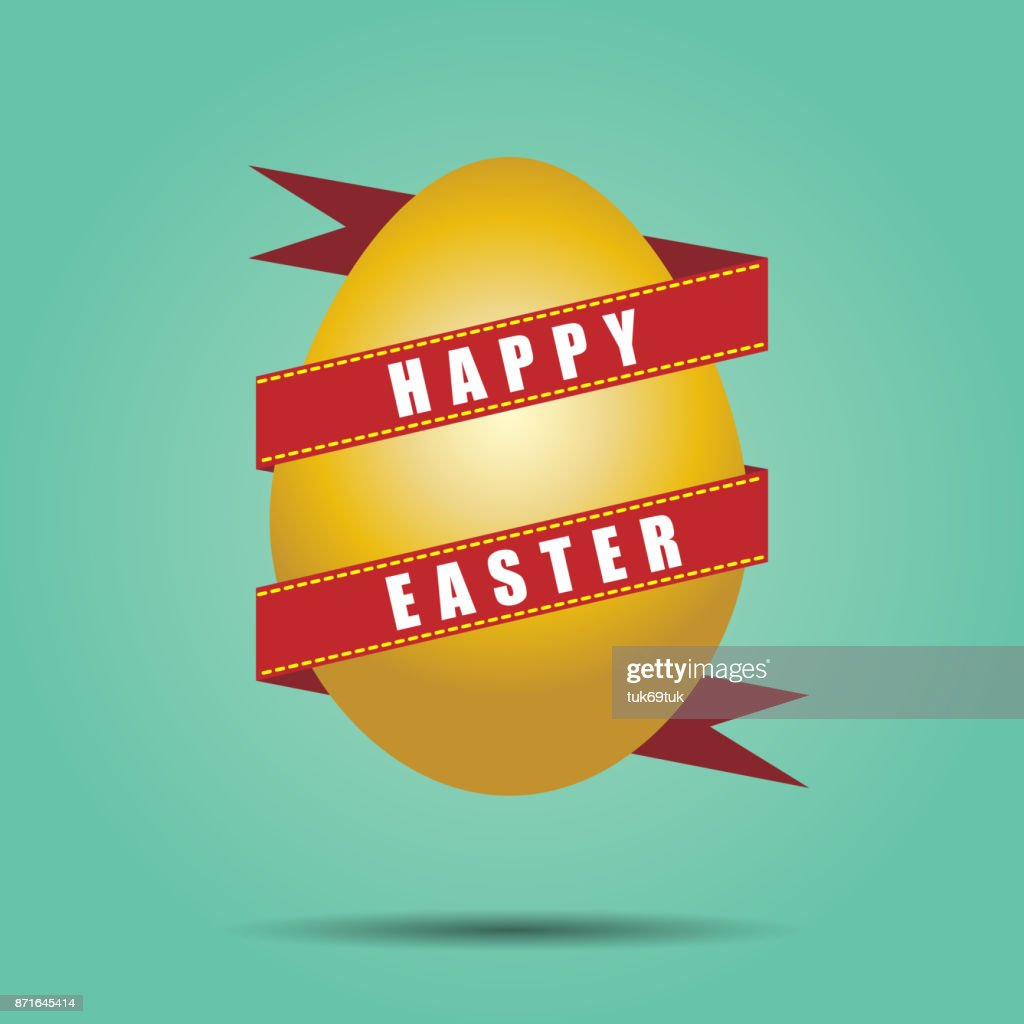 vector illustration Golden Easter egg with decorative elements and ribbon.