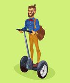 Vector illustration guy using segway