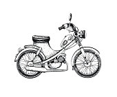 Vector illustration, hand drawn sketched motorcycle isolated on white background