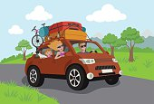 Vector Illustration - Happy family travelling by car