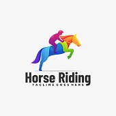Vector Illustration Horse Riding Gradient Colorful Style.