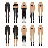 Vector illustration. Hosiery elements - tights, stockings, golfs, leg warmers
