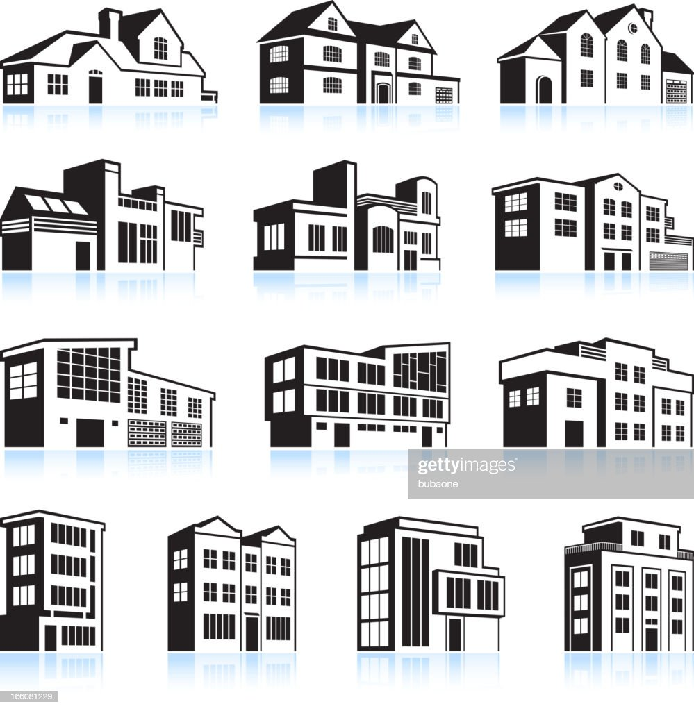 3D vector illustration houses and apartments
