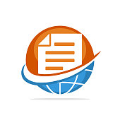 Vector illustration icon with the concept of international document management