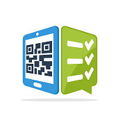 Vector illustration icon with the concept of scanning QR code with a smartphone to access survey services