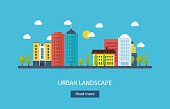 Vector illustration icons set of urban landscape and city life