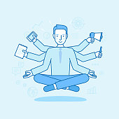 Vector illustration in flat linear style and blue color - business man meditating