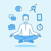 Vector illustration in flat linear style and blue color - business man sitting and meditating in lotus pose