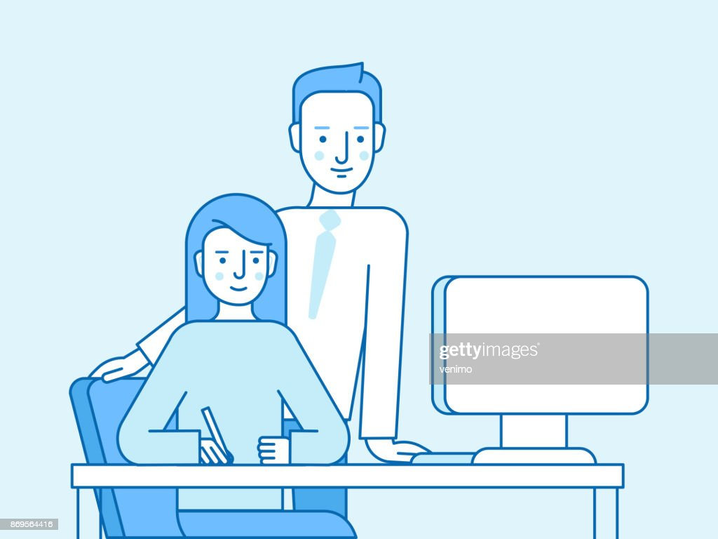 Vector illustration in flat linear style and blue color - client and graphic designer