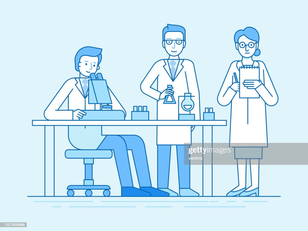 Vector illustration in flat linear style and blue color  - medical explorations and science studies