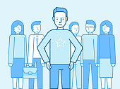 Vector illustration in flat linear style and blue color - successful team concept